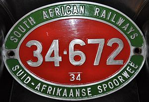 South African Class 34-600 - Image: Class 34 (600) Number Plate (34 672)