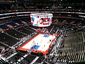 Staples Center - Staples Center before a Clippers game, featuring the new hanging scoreboard