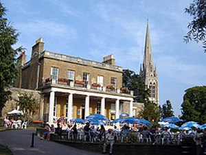 Clissold Park - Clissold Park Café is at the late-18th century villa; the spire of St Mary's Church, Stoke Newington can be seen in the background
