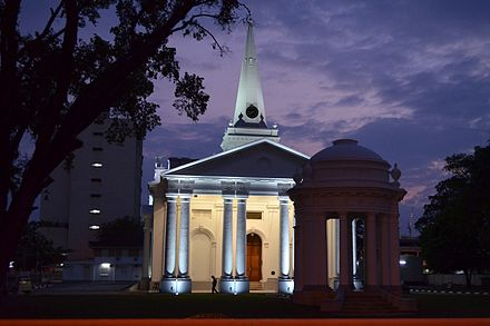 Built in 1818, St. George's Church in George Town is the oldest Anglican church in Southeast Asia. Cmglee Penang Anglican church night.jpg