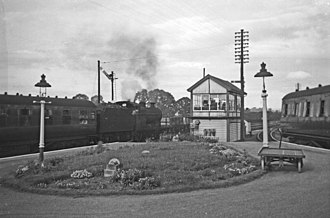 Cam and Dursley railway station - Coaley Junction station, with the Dursley branch train on the right, 1960