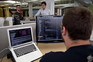 Software engineering - A software engineer programming for the Wikimedia Foundation