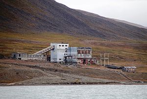 Arktikugol - Remains of the coal handling facilities at the port in Colesbukta