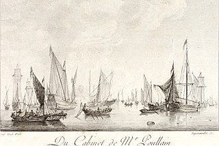 A Calm Sea with several vessels under sail