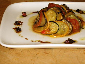 Ratatouille (film) - The film's take on the traditional ratatouille dish was designed by gourmet chef Thomas Keller and later came to be known as confit byaldi.
