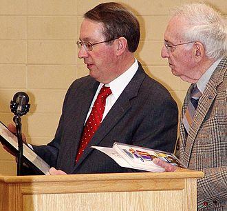 Korean War Service Medal - US Congressman Bob Goodlatte (left) presents a ROKWSM and other honors to a Korean War veteran in 2009.