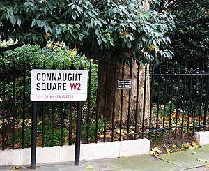 Connaught Square - Connaught Square, Westminster — predominantly four-storey terraced houses surrounding a private communal garden planted with mature trees.