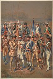 A group of about a dozen men is shown standing about.  Each wears a different style of uniform, varying the hat, color of the jacket and its facing, color and cut of the waistcoat, color of the pants, and style of footwear.  One man wears ranger garb, consisting of leather tunic, pants, and moccasins.