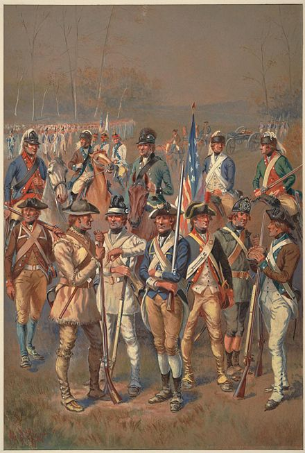 A watercolor painting depicting a variety of Continental Army soldiers ContinentalArmy LeffertsWatercolor.jpg