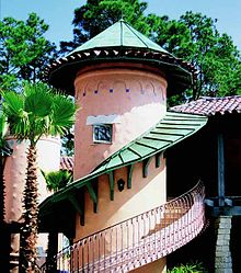 Example Of Architectural Copper Work, Showing Copper Dome With Copper  Finial, Winding Spiral Copper Roof Awning, And A Copper Railing.