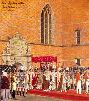 1840 in Denmark - Coronation of Christian VIII of Denmark, drawing by Johan Vilhelm Gertner