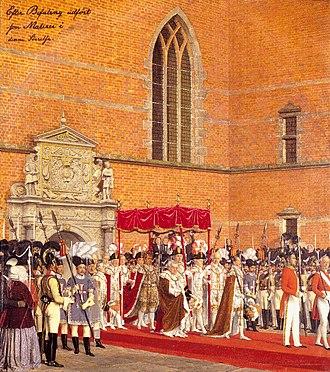 1840 in Denmark - Coronation of Christian VIII of Denmark, drawing by Johan Vilhelm Gertner