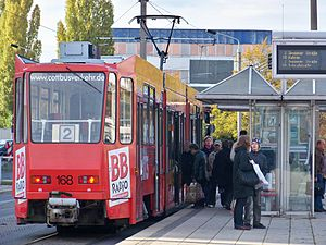 Trams in Cottbus - A line 2 tram at Cottbus Hauptbahnhof.