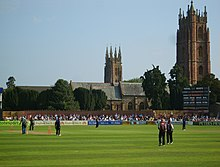 The County Ground, Taunton, with two churches visible in the background.