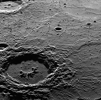 Hokusai (crater) - Photo of Hokusai crater by MESSENGER