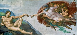 "Image of God - In ""Creation of Adam,"" Michelangelo provides a great example of the substantive view of the imago of God through the mirroring of the human and the divine."