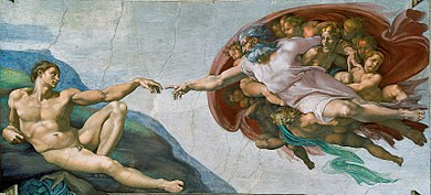 Rectangular fresco. God is in the act of creating the first man, who lies languidly on the ground, propped on one elbow, and reaching towards God. God, shown as a dynamic elderly man, is reaching his hand from Heaven to touch Adam and fill him with life.