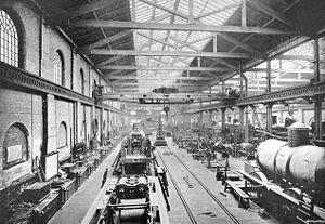 London and North Western Railway - The erecting shop at the Crewe Locomotive Works ca. 1890