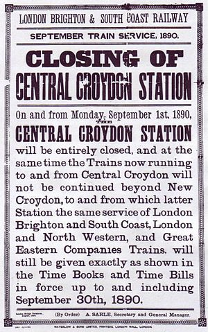 Central Croydon railway station - Poster advertising the station's final closure