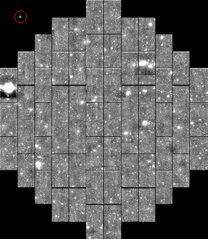 The Dark Energy Survey - Simulated image of the DECam CCD array at focal plane. Each large rectangle is a single CCD. The green rectangle circled in red in the upper left corner shows the size of the iPhone 4 camera CCD at the same scale.