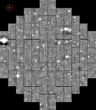 Dark Energy Survey - Simulated image of the DECam CCD array at focal plane. Each large rectangle is a single CCD. The green rectangle circled in red in the upper left corner shows the size of the iPhone 4 camera CCD at the same scale.