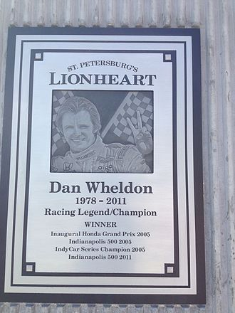 Firestone Grand Prix of St. Petersburg - Dan Wheldon memorial plaque located adjacent to the course layout.