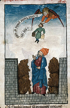 daniel in the lions den saved by habakkuk as described in rabbinic literature france 15th century