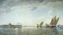 Danskarna beskjuter Nya Älvsborg på tillbakaväg ut från Göta älvs mynning. Målning av Jacob Hägg, Sjöfartsmuseet Göteborg.