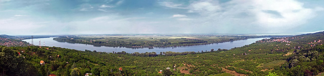 Panoramic image of Danube pictured in Ritopek, suburb of Belgrade, Serbia.