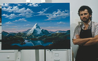 Artist Dario Campanile poses with a picture Paramount commissioned him in 1986 to paint for its 75th anniversary. The company later used the painting as a basis for its new logo. That logo was introduced as a prototype in the 1986 film The Golden Child; the 1987 film Critical Condition was the first to feature the finalized version of the logo. 1999's South Park: Bigger, Longer & Uncut was the first to use an enhanced version of the logo, which was last used on 2002's Crossroads. DarioCampanile.Paramount.jpg