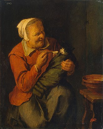 David Ryckaert III - Image: David Rijckaert (III) Peasant Woman with a Cat