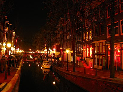 De Wallen, Amsterdam's red-light district; red is the sex industry's preferred color in many cultures, due to being strongly associated with passion, love and sexuality. De Wallen.JPG