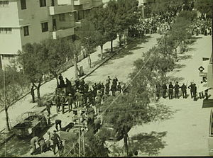 White Paper of 1939 - Jewish demonstration against White Paper in Tel Aviv, 1939, from the collection of the National Library of Israel.