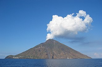 High island - Stromboli is one of the eight Aeolian Islands, a volcanic arc north of Sicily.
