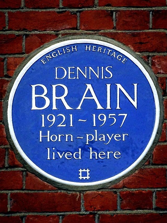 Dennis Brain blue plaque - Dennis Brain 1921-1957 horn player lived here