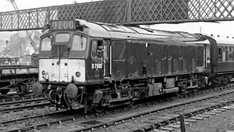 British Rail Class 25 - D7585 working as Derby station pilot in May 1965.  The livery is BR green with small yellow warning panels.