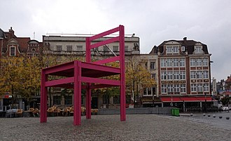 Courtray Design Biennale Interieur - During the 2012 Design Biennale Interieur Courtray, a large scale model of a chair was placed on the central city square, the Grand Square, in order to attract the visitors' attention.