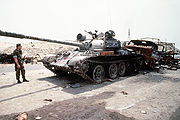 Destroyed Iraqi T-55 on highway between Basra & Kuwait City 1991-04-18 2