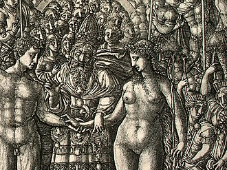 Jean Duvet - Detail of The Marriage of Adam and Eve, probably 1540/1555, engraving.