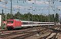 Deutsche Bahn electric locomotive 010 052-9 arrives at Mannheim with SBB stock of the Interlaken-Frankfurt service.jpg