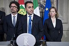 Toninelli con Luigi Di Maio e Giulia Grillo alle consultazioni del presidente della Repubblica Italiana nel 2018