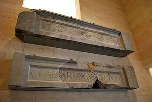 Roman theatre, Cartagena - Dedicatory inscriptions to Gaius and Lucius Caesar.