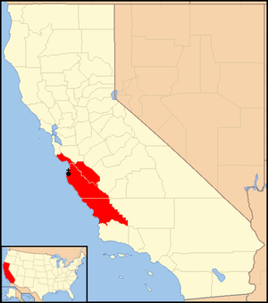 Roman Catholic Diocese of Monterey in California - Image: Diocese of Monterey in California map 1