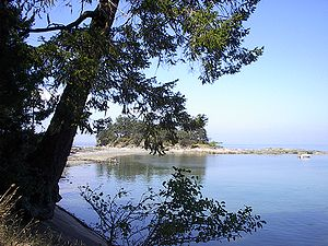 Dionisio Point Provincial Park, Dionisio Point and sand spit from mainland.JPG