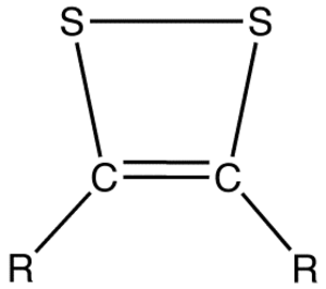 Dithiete - General chemical structure of 1,2-dithietes, where R is an organic group