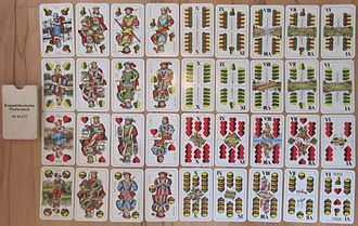 "German playing cards - William Tell deck (Austrian version); note the ""Weli"" on the 6 of Bells."