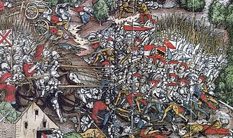 Close order formation - In close formation, Swiss infantry confront Holy Roman imperial cavalry at the Battle of Dornach, 1499.