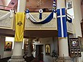 Double-Headed Eagle and Historic Flag of Greece banners -- Annunciation (Toronto).jpg