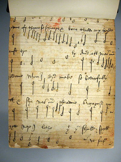 Recto of a 16th-century music manuscript found in the front pastedown of Drexel 4180, a manuscript in the Music Division of the New York Public Library Drexel 4180 front recto.jpg