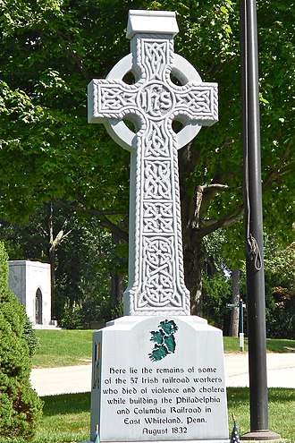 Delaware Valley - Grave of some of the 57 Irish victims of Duffy's Cut in West Laurel Hill Cemetery in Bala Cynwyd, Pennsylvania. Irish Americans make up the largest ethnicity in the Delaware Valley.